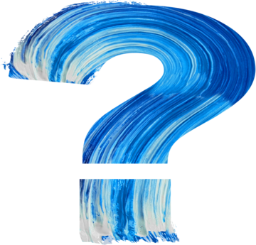 Blue painted question mark