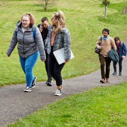 Students walking through Singleton Park