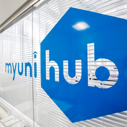MyUniHub branding on a window sticker
