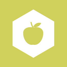 Support & Wellbeing Apple Hexagon Icon