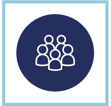 Cartoon outline of a group of people on a blue background