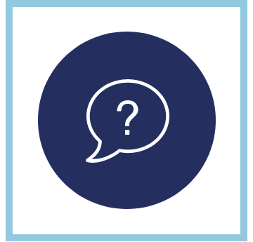 question mark in a speech bubble on a blue background