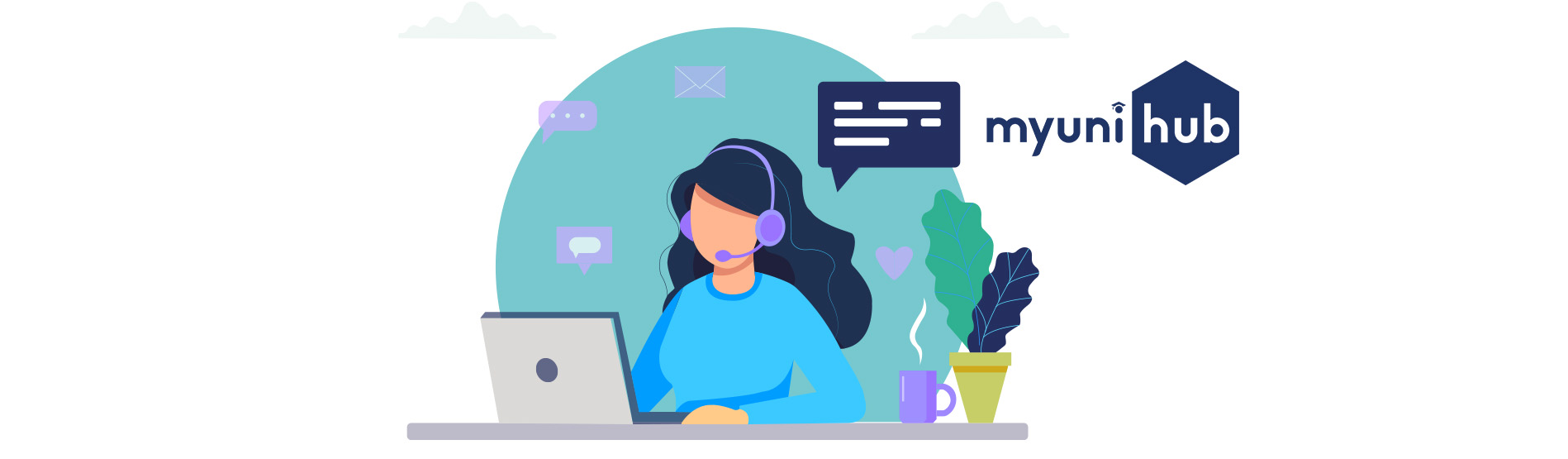 Illustration of a woman in a call centre