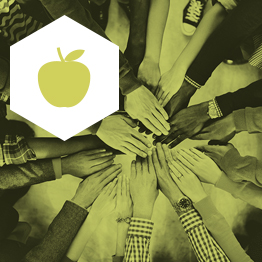 Birds eye view of a circle of people holding hands with green filter and apple icon